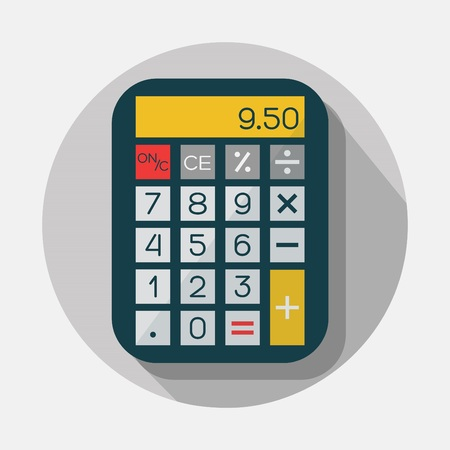 numbers clipart: Calculator icon with long shadow on gray background