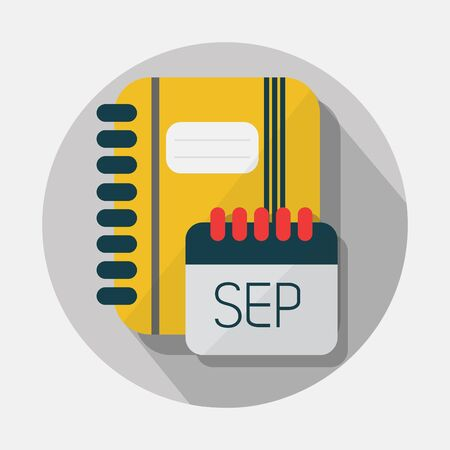 spiral notebook: Wire notebook, and SEP calendar icons with long shadow on gray background Illustration