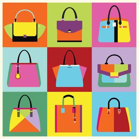 Retro pop art women handbag and purse set poster