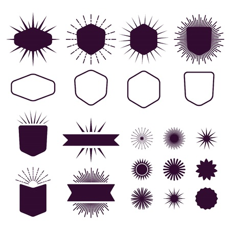 sunburst: Burgundy set of empty and silhouette design elements icons