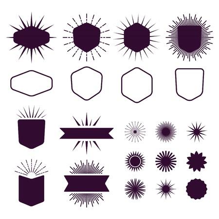 Insieme Borgogna di vuoti e silhouette elementi di design icone Archivio Fotografico - 43893003