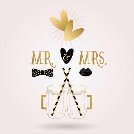 se�ora: Negro y oro abstractos Sr. Sra tarros taza iconos