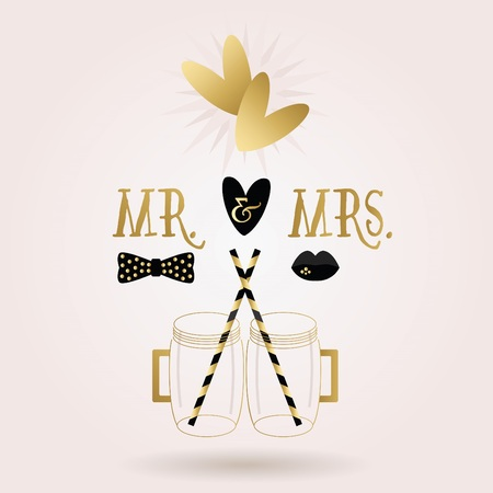 Black and golden abstract Mr.  Mrs. mug jars icons