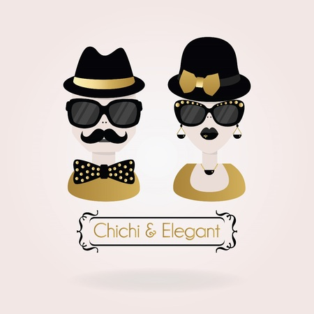 sunglasses reflection: Abstract black and golden Chichi  Elegant male and female couple icons