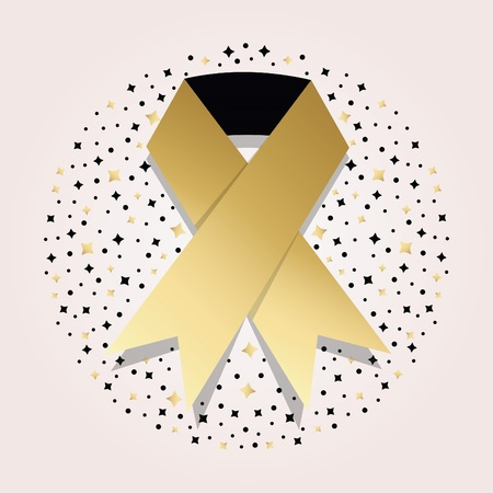 childhood cancer: Golden cancer awareness ribbon icon on circle star pattern beckground Illustration