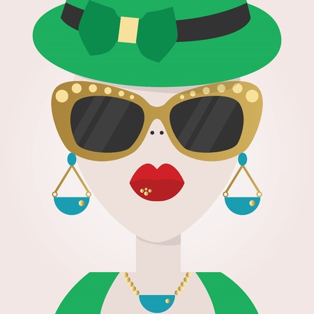 woman close up: Abstract close up of stylish woman face with sunglasses icon Illustration