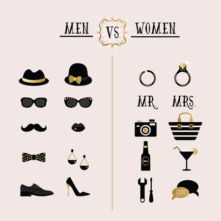 Black and golden hipster Men Vs Women accessories and design icons Illustration
