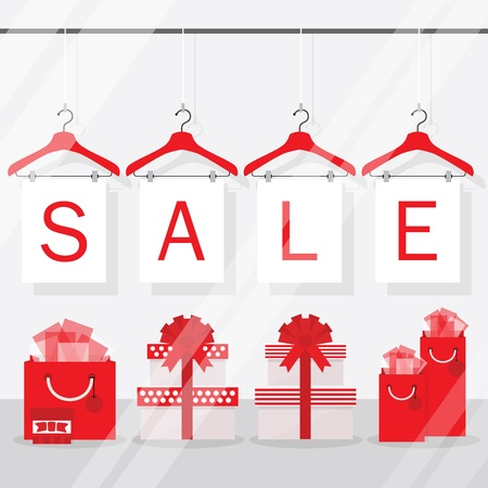 Clothing hangers SALE signage and banners with gift boxes and gift bags decoration
