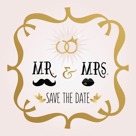 señora: Abstracto negro y dorado Sr. Sra ahorran la invitación de boda Fecha