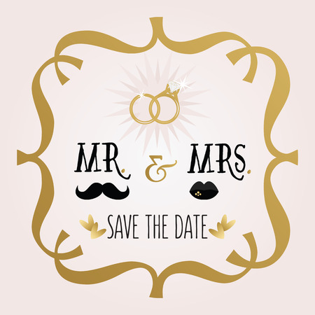 mr and mrs: Black and golden abstract Mr.  Mrs. Save The Date wedding card Illustration