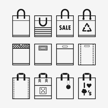 rectángulo: Lineales bolsas de plástico y de la compra de papel iconos conjunto Vectores