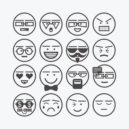 angry smiley face: Cute line emoticons set - Conceptual round character faces icons for designs Illustration