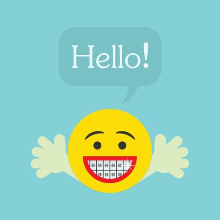 wave hello: Hello smily character icon with big smile and orthodentics teeth Illustration
