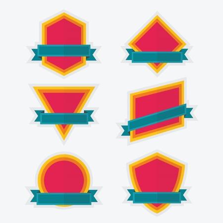 parallelogram: Colorido emblema y banners Iconos geom�tricos vac�os fijados Vectores