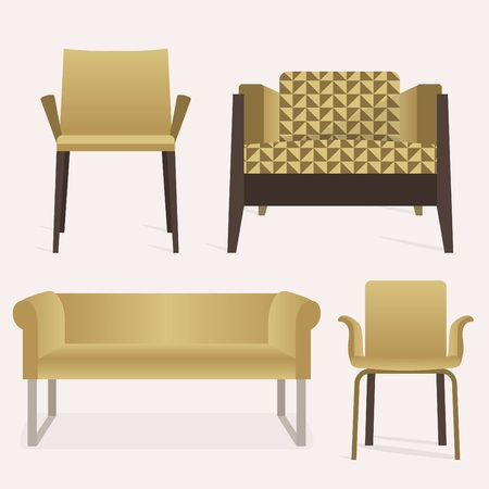 Modern style yellow sofa and arm chair furniture set