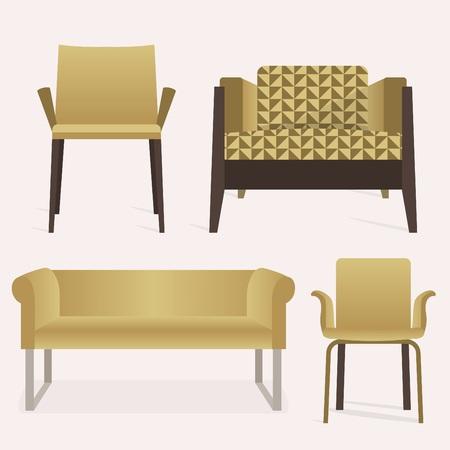 sofa set: Modern style yellow sofa and arm chair furniture set