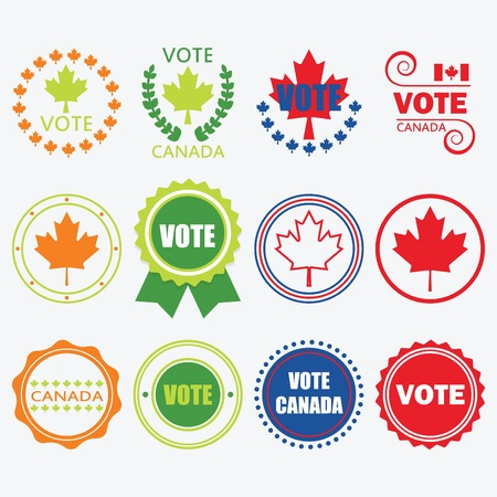 Red, blue, orange, and green Vote Canada emblems and design elements set