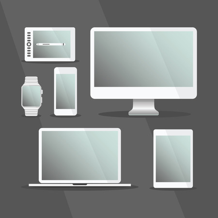 Modern digital devices and computer set with white frames