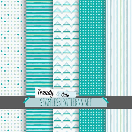 Set of white and blue dotted, stripes and chevron seamless patterns Ilustração