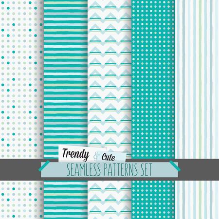 Set van witte en blauwe gestippelde, strepen en chevron naadloze patronen