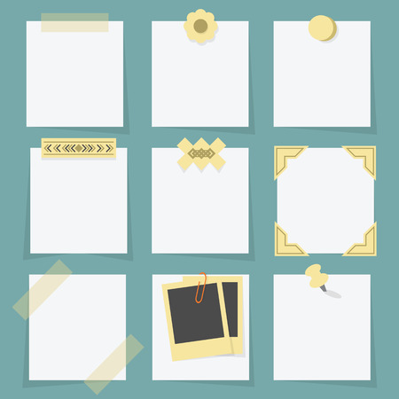 attached: Small little attached blank paper notes on teal background Illustration