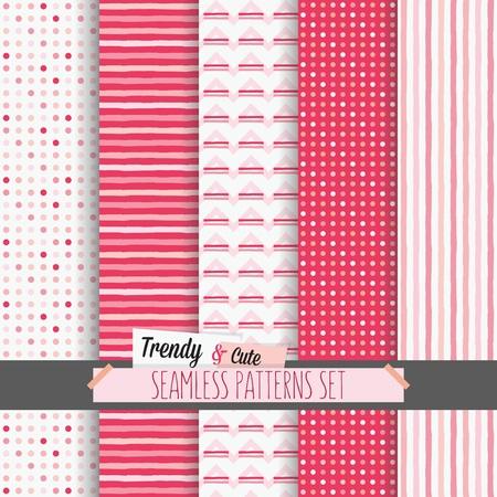Set di bianco e rosa punteggiato, righe e Chevron modelli senza soluzione Archivio Fotografico - 46935198