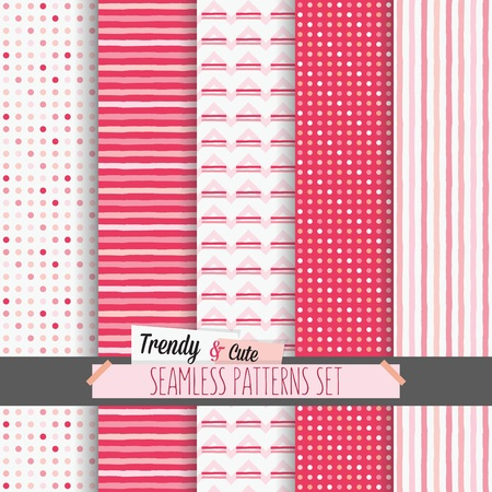 Set of white and pink dotted, stripes and chevron seamless patterns