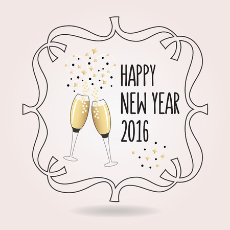confetti: Abstract black and golden Happy New Year 2016 cheers icon with pair of champagne glasses Illustration
