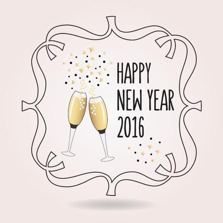 Astratto nero e dorato Felice Anno Nuovo 2016 acclamazioni icona con un paio di bicchieri di champagne Archivio Fotografico - 47530978