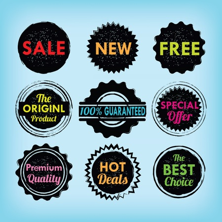 stamp seal: Set of black and colorful labels, badges and stickers with textures on blue background Illustration