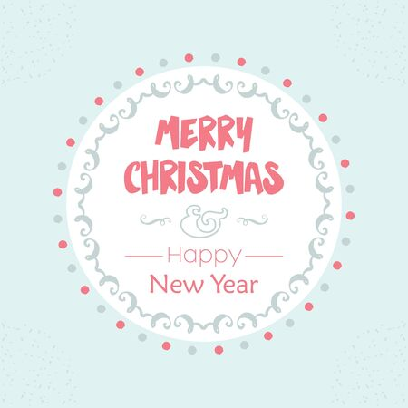 simple: Merry Christmas and Happy New Year vintage message on light blue background