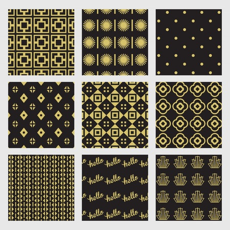 scrapping: Black and golden geometrical and Art Deco patterns set