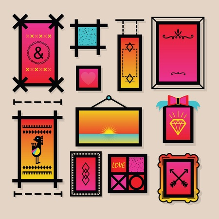 Colorful decoration symbols and frames icons set on beige bakground