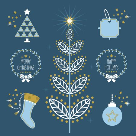 blue star: Trendy blue Christmas Holiday flat symbols and icons set with sparkles Illustration