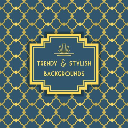 stylish decoration: Golden and Blue trendy and stylish decoration background with border tag