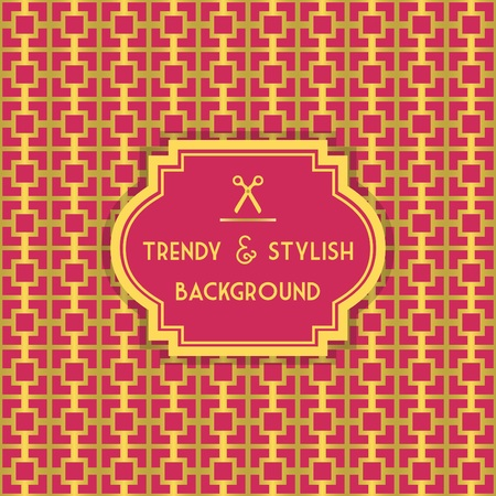 stylish decoration: Golden and Pink trendy and stylish decoration background with border tag Illustration