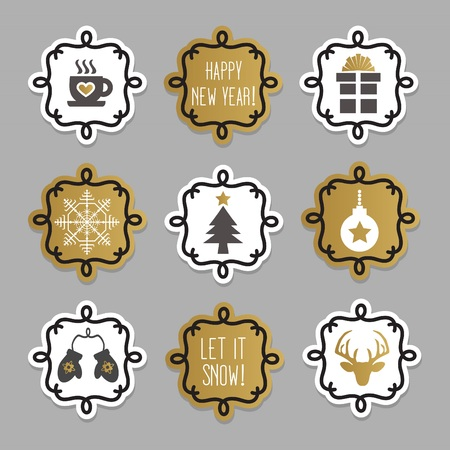 Trendy and cute Christmas and winter tags and stickers set on gray background Illusztráció