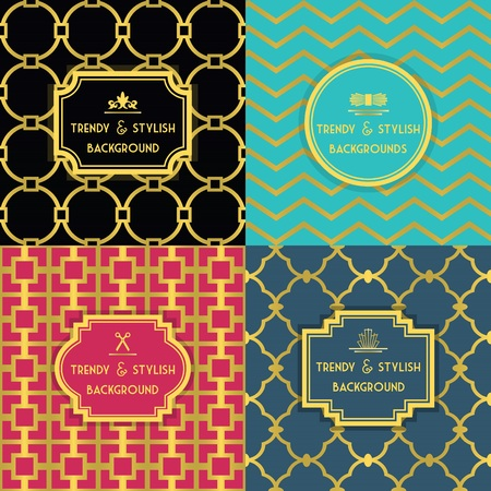 stylish decoration: Golden and colorful trendy and stylish decoration background set with border tag