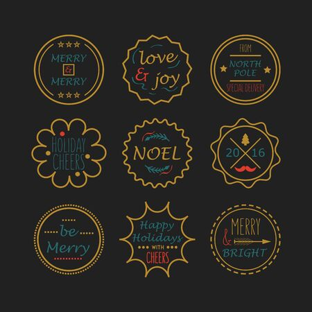 north pole sign: Cute golden Christmas and Holiday line tags set on black background