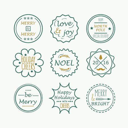north pole sign: Cute green Christmas and Holiday line tags set on white background
