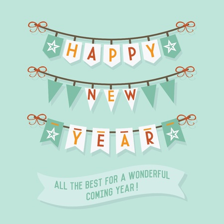 happy new year banner: Happy New Year buntings and decorations on blue background