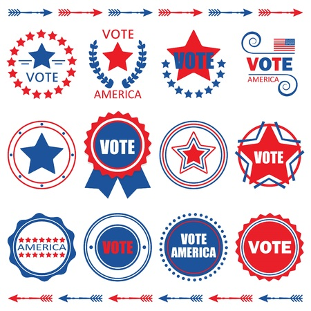 simple: Red and blue Vote America emblems,tags, and design elements set
