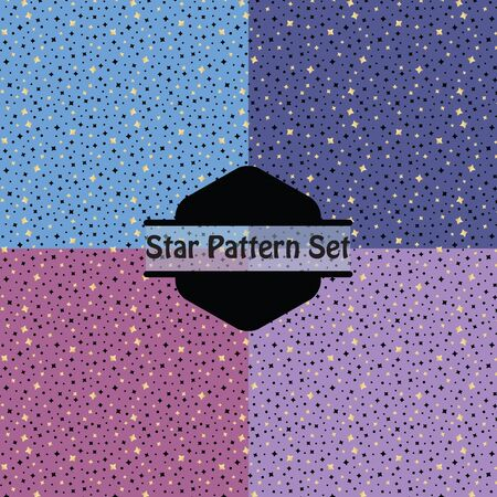 Cute golden stars pattern set in pink, purple and blue