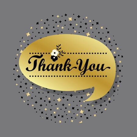 appreciating: Golden speech bubble with Thank You message on circle star pattern background