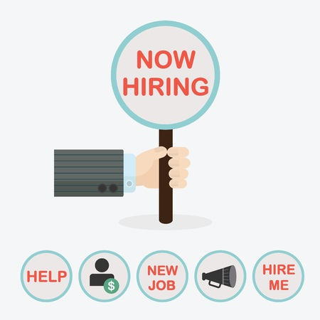 now hiring: Male hand holding vertical circle paddle stick and word Now Hiring - with extra word HELP, word NEW JOB, word HIRE ME, dollar sign, and megaphone icons