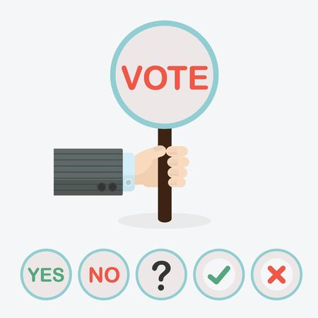 yes no: Male hand holding circle vertical paddle stick and word VOTE - with extra question mark, ckeck mark, cross mark, word YES, and word NO icons Illustration