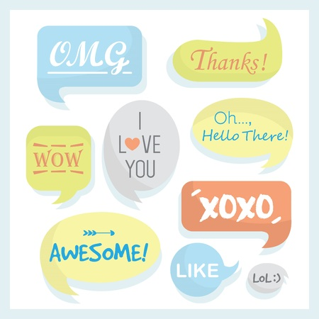 Trendy and colorful speech bubbles set with some words in different retro shapes Çizim