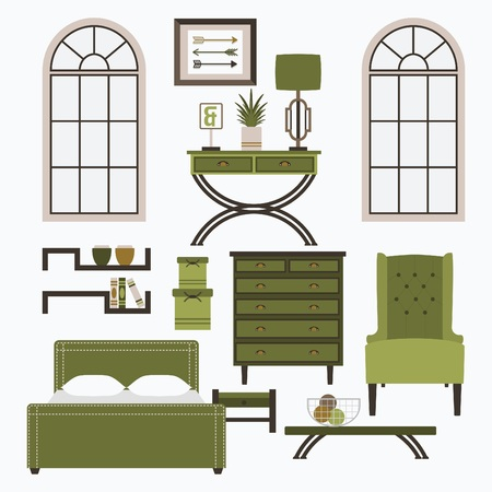 accessory: Home furniture, window frmae, and accessories in color green