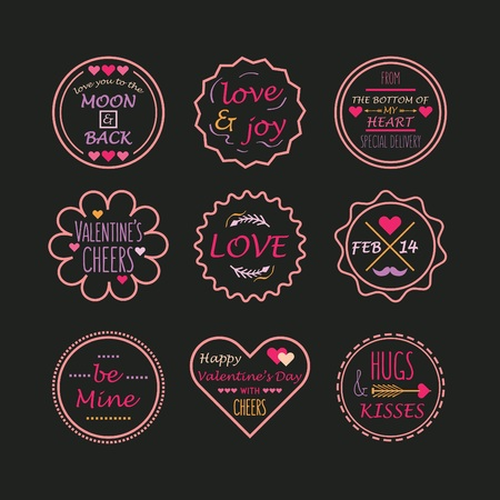 Cute Pink and Purple Valentines day and love tags and labels set on black background
