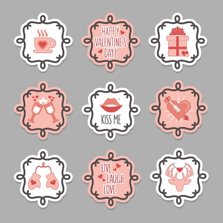Trendy and cute pink and white love and valentines Day tags and stickers set